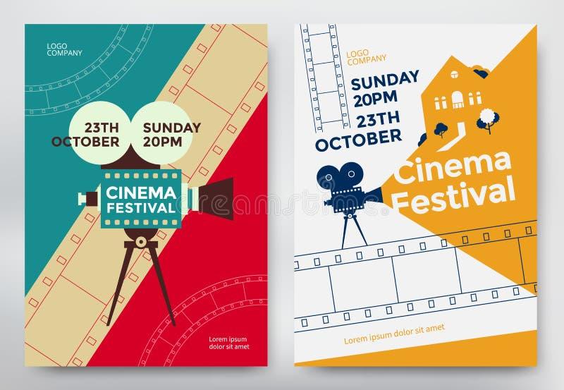 Cartel del festival del cine stock de ilustración