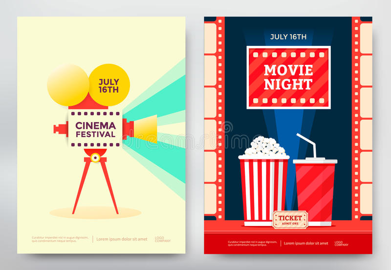 Cartel del festival del cine ilustración del vector