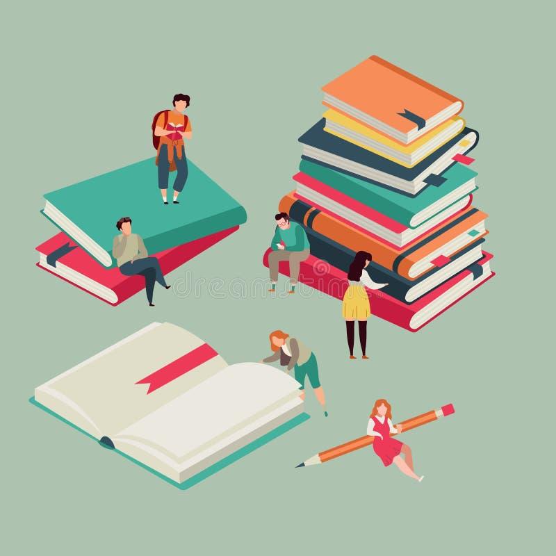 Cartel del festival del libro Miniatura de los libros de la educación con la lectura de gente joven Bandera del vector de la bibl libre illustration