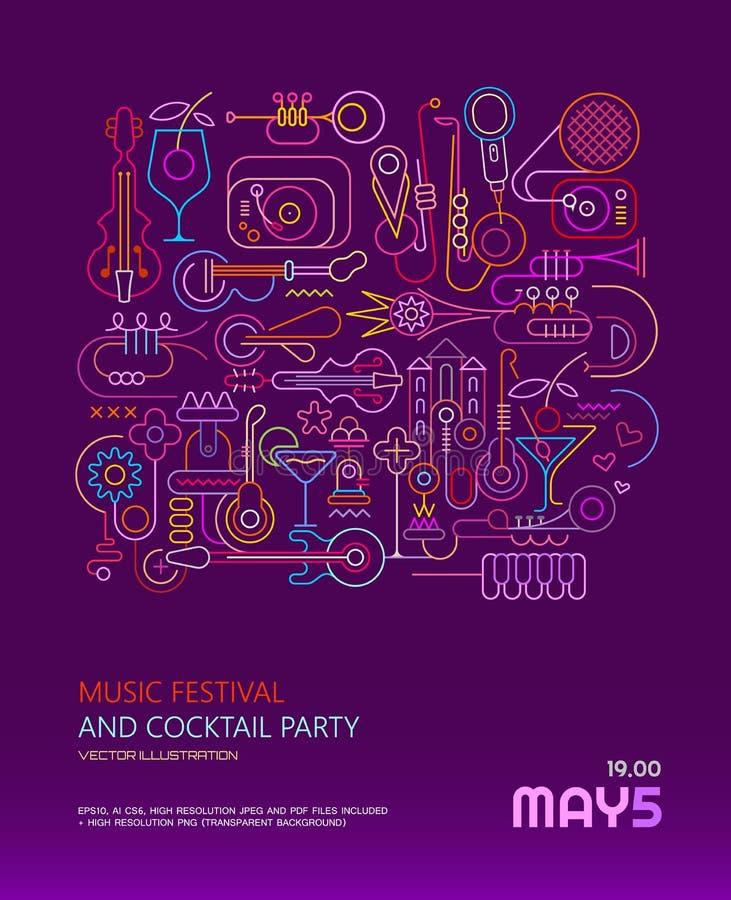 Cartel del festival y del cóctel de música ilustración del vector