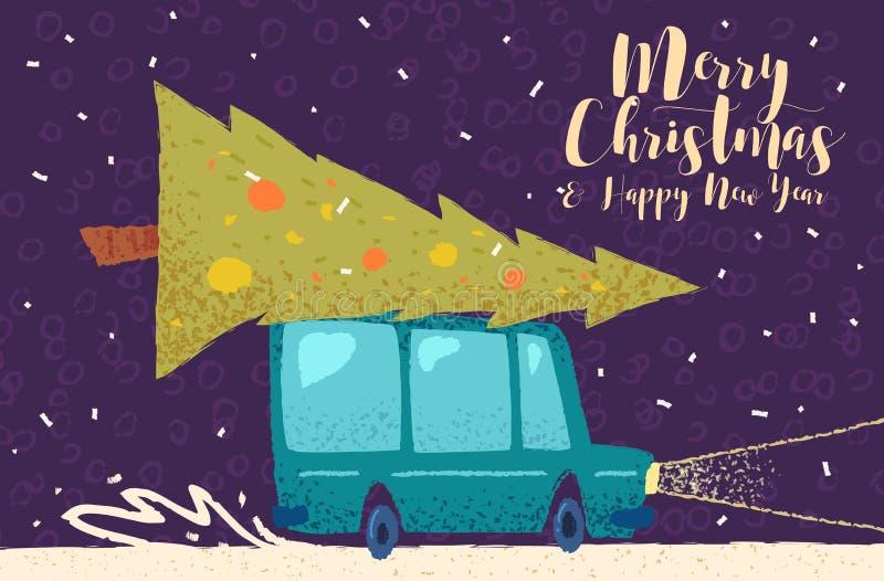 Cartel del fondo de la tarjeta de felicitación de la Navidad Ilustración del vector libre illustration