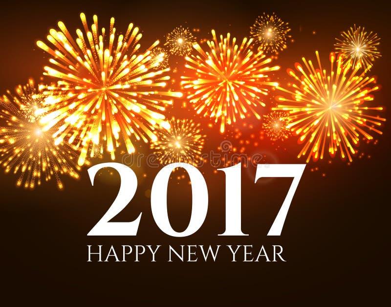 cartel del fuego artificial del extracto de la bandera del fondo del Año Nuevo 2017 Papel pintado del saludo de Navidad Tarjeta d stock de ilustración