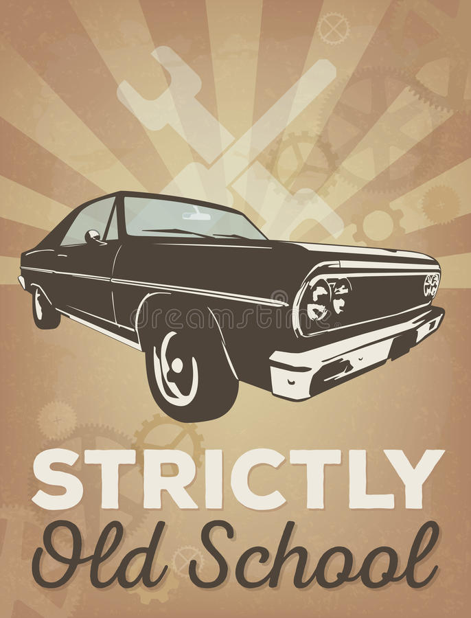 Cartel del garaje del coche del vintage ilustración del vector