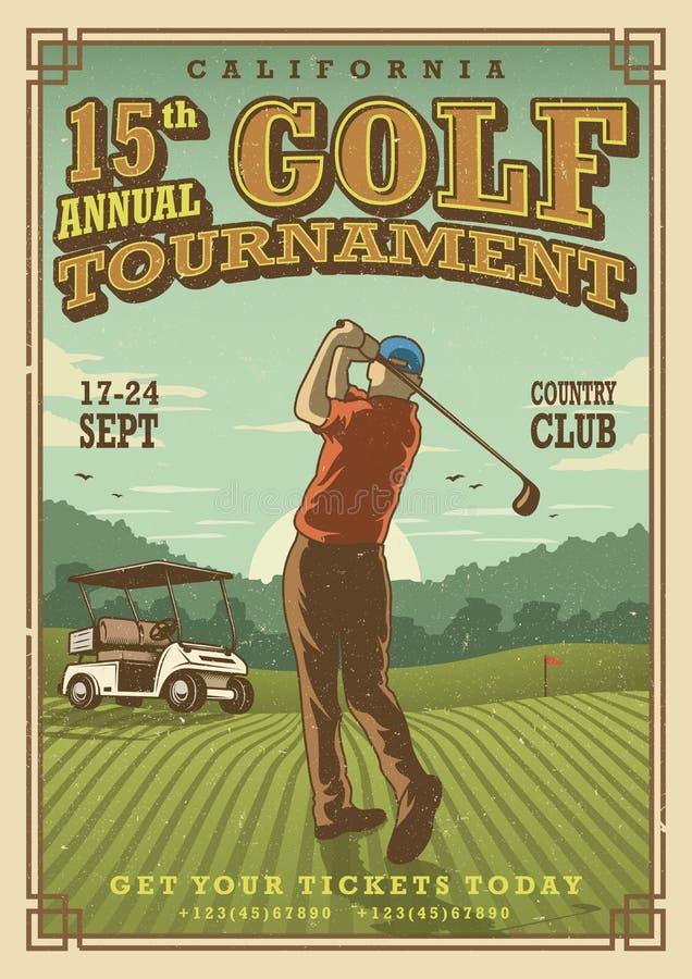 Cartel del golf del vintage ilustración del vector