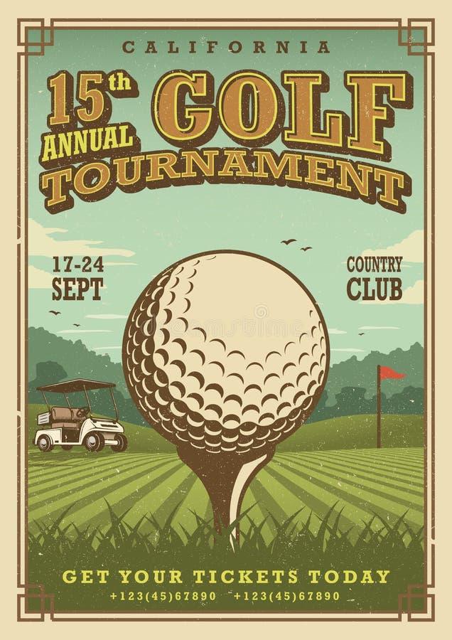 Cartel del golf del vintage fotos de archivo