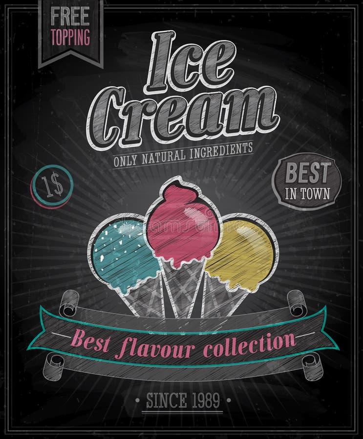 Cartel del helado del vintage - pizarra. ilustración del vector