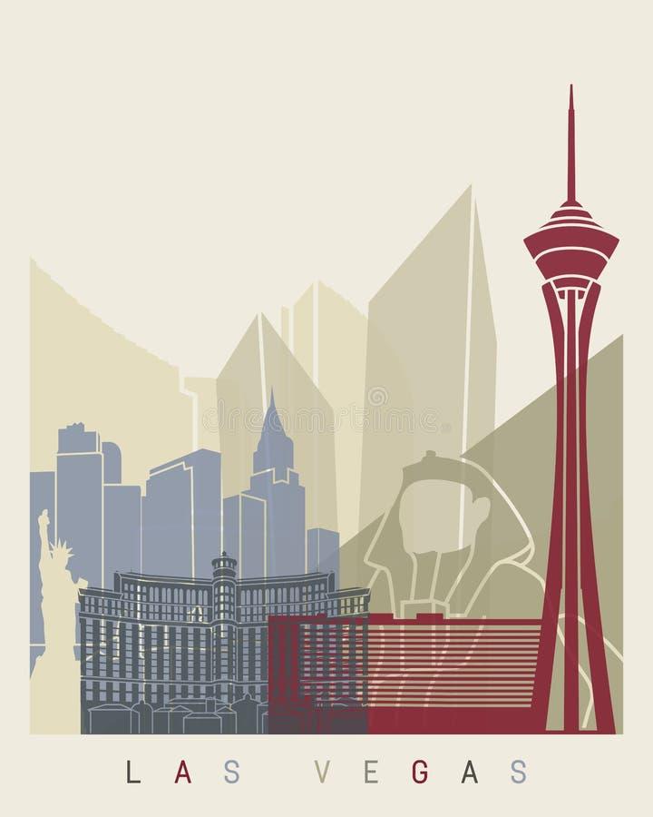 Cartel del horizonte de Las Vegas ilustración del vector