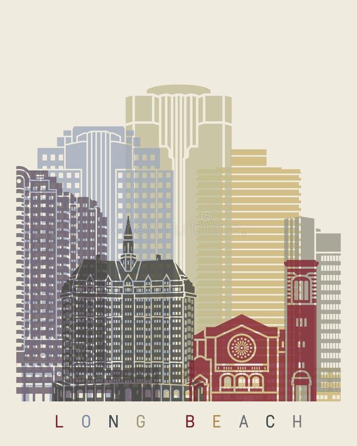Cartel del horizonte de Long Beach ilustración del vector