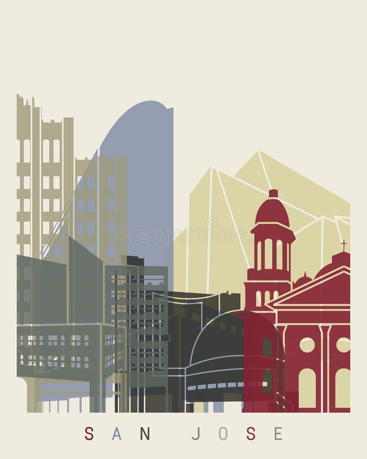 Cartel del horizonte de San Jose ilustración del vector
