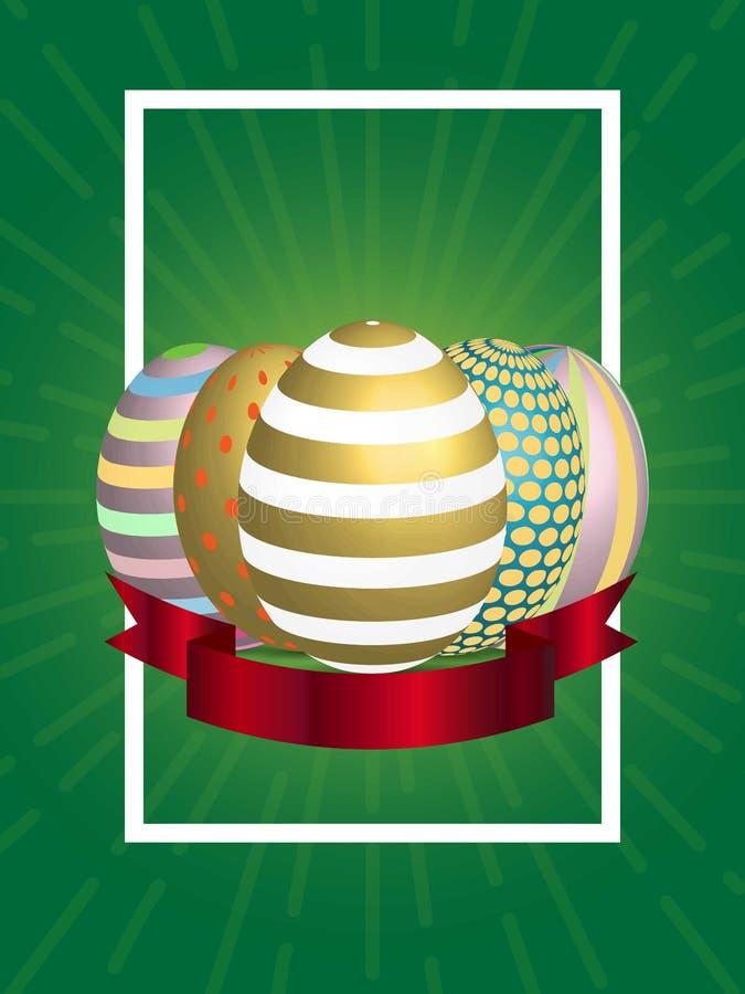 Cartel del huevo de Pascua Ilustración del vector EPS 10 Día feliz de Pascua Fondo libre illustration