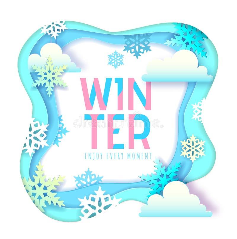 Cartel del invierno con los copos de nieve y las nubes Dise?o cortado del estilo del arte del papel stock de ilustración