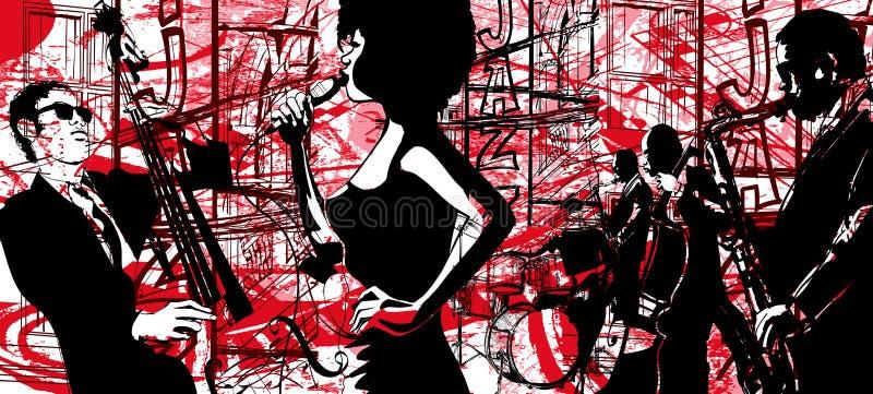 Cartel del jazz con el saxofón, el doble-bajo y el tambor stock de ilustración