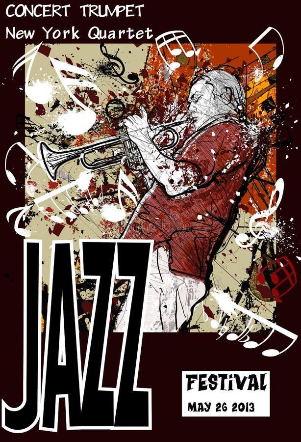 Cartel del jazz con el trompetista ilustración del vector
