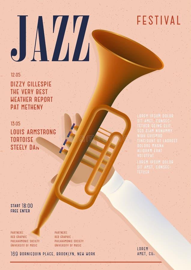 Cartel del jazz Plantilla para el cartel musical del concierto Maqueta vertical con la trompeta y lugar para el texto libre illustration