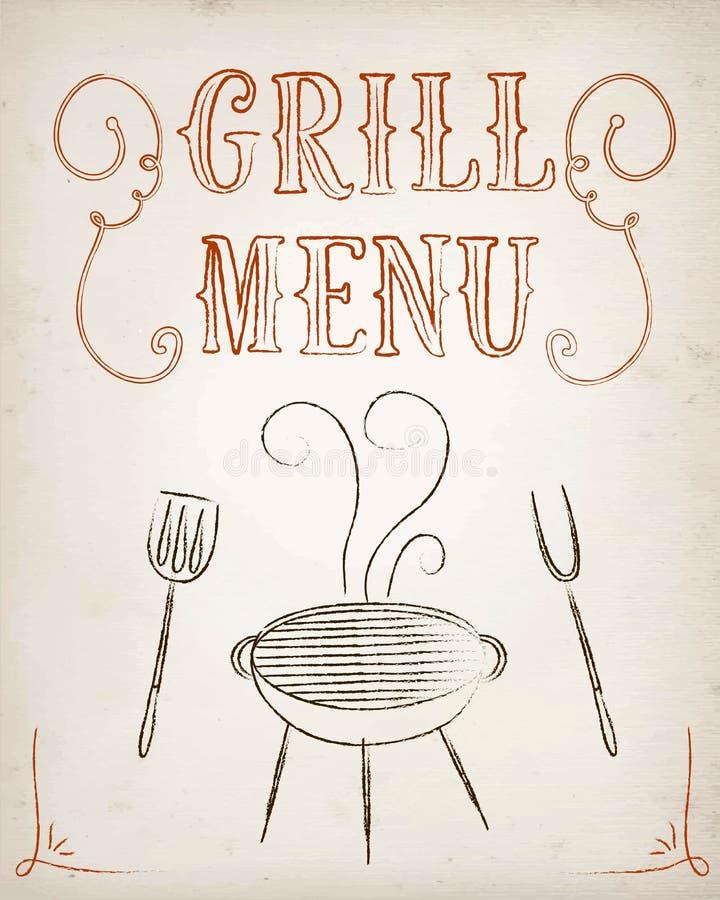 Cartel del menú de la parrilla libre illustration