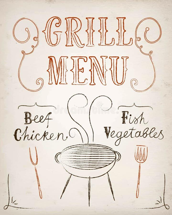 Cartel del menú de la parrilla stock de ilustración