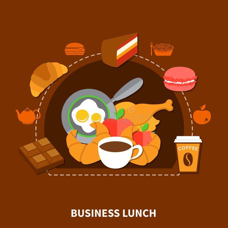 Cartel del menú del almuerzo de negocios de los alimentos de preparación rápida stock de ilustración