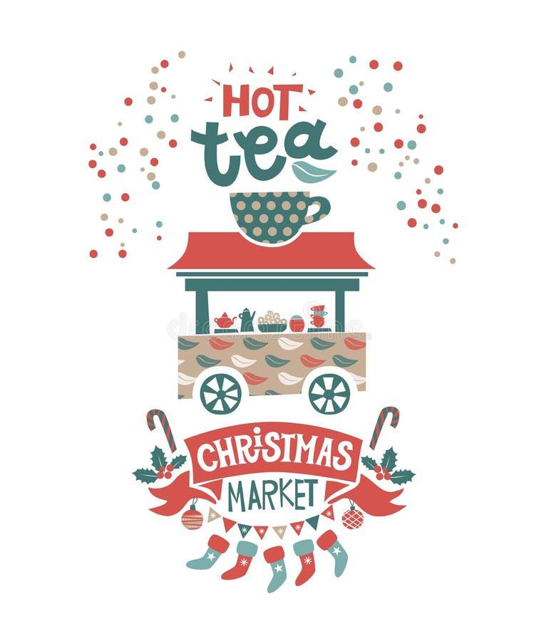 Cartel del mercado de la Navidad ilustración del vector
