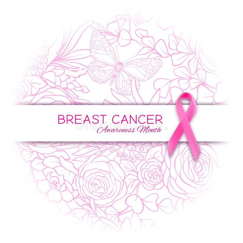 Cartel del mes de la conciencia del cáncer de pecho con la cinta y el estampado de flores rosados ilustración del vector