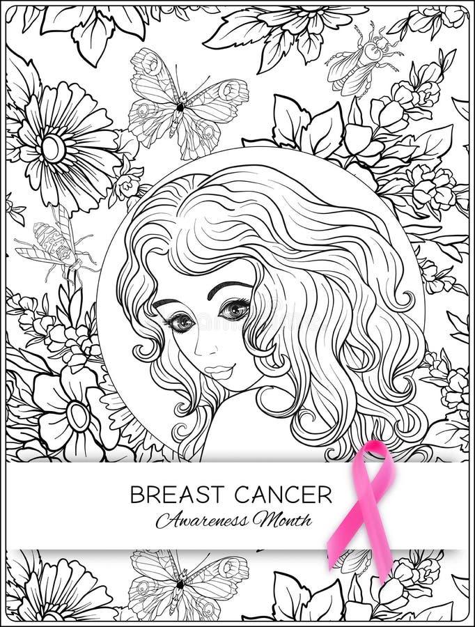Cartel del mes de la conciencia del cáncer de pecho con el retrato rosado de la cinta y de las mujeres libre illustration