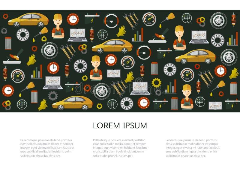 Cartel del modelo de los iconos del servicio del coche plano del vector libre illustration