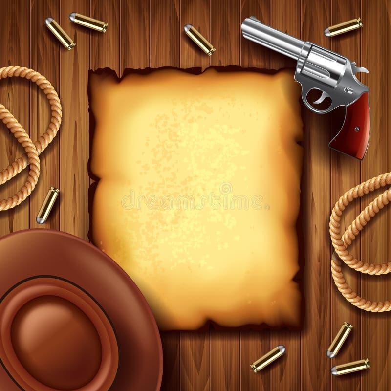 Cartel del oeste salvaje con el fondo de la materia del vaquero stock de ilustración