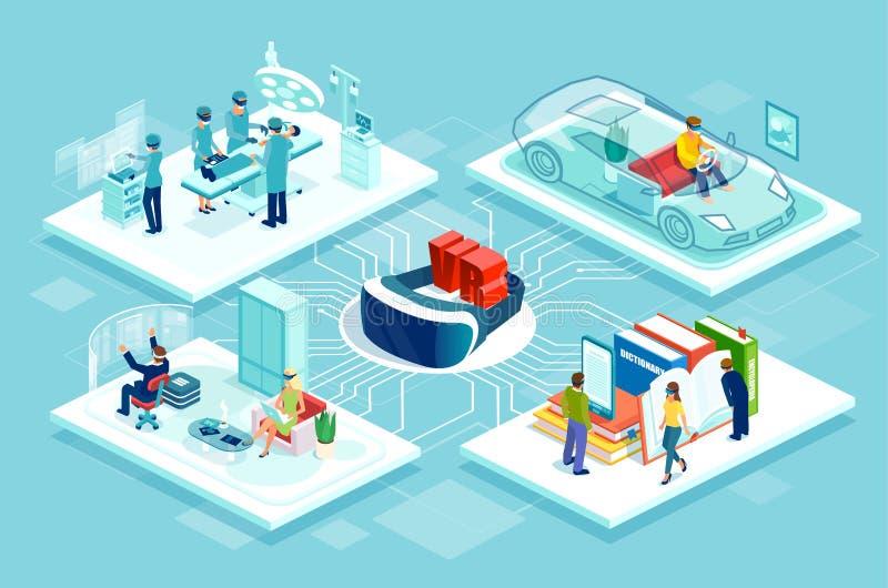 Cartel del organigrama del vector con el juego de las carreras de coches del regulador del vr, la educación en línea y las compra stock de ilustración