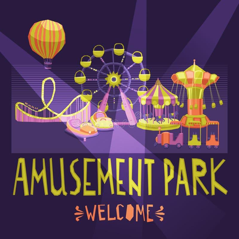 Cartel del parque de atracciones libre illustration