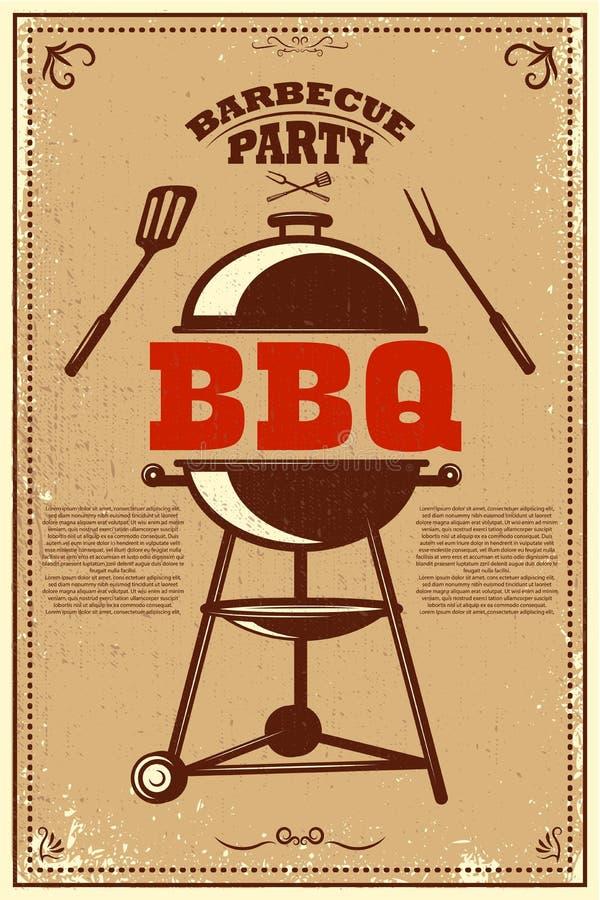 Cartel del partido del Bbq Barbacoa y parrilla Diseñe el elemento para la tarjeta, bandera, aviador stock de ilustración