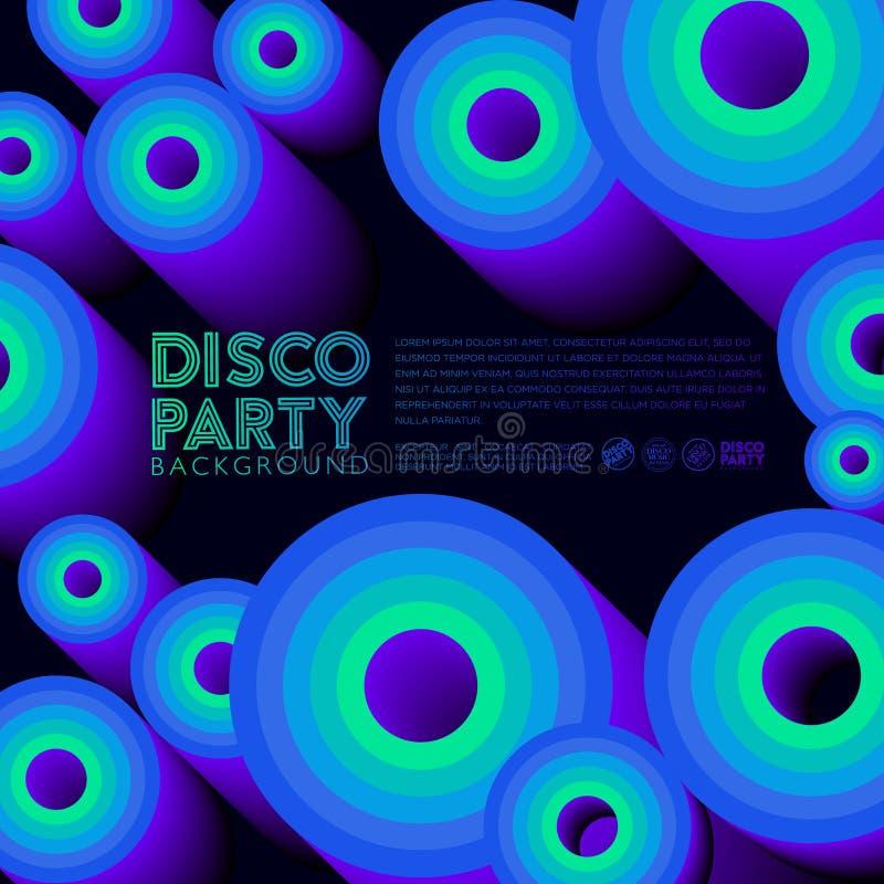 Cartel del partido de disco Tarjeta _1 de la invitación Círculos coloreados y letras ilustración del vector