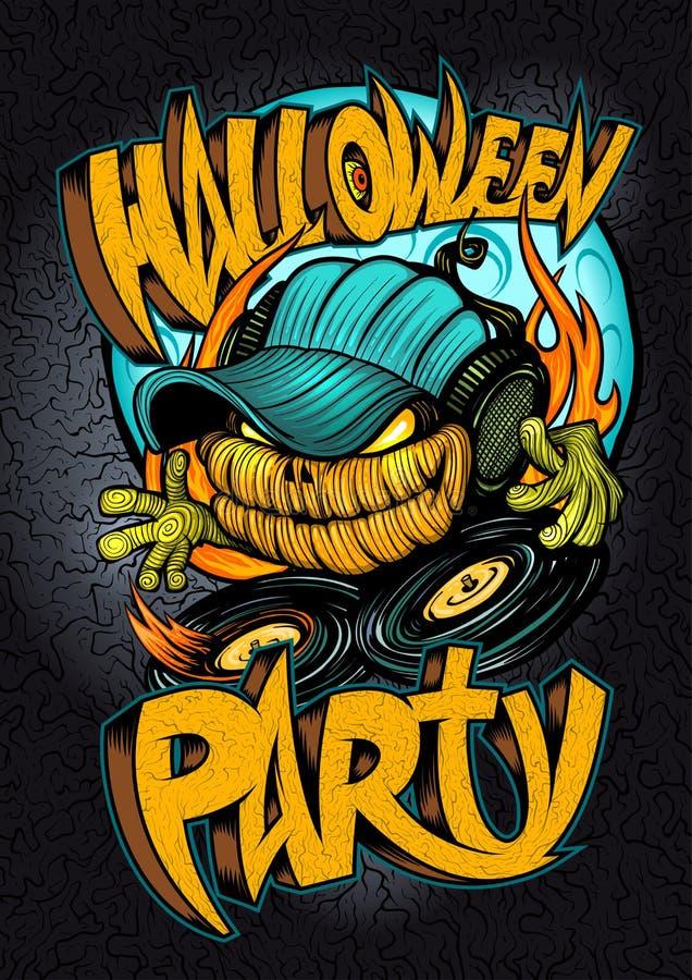 Cartel del partido de Halloween, tarjeta de la invitación, bandera de la web con la cabeza asustadiza de la calabaza de DJ libre illustration