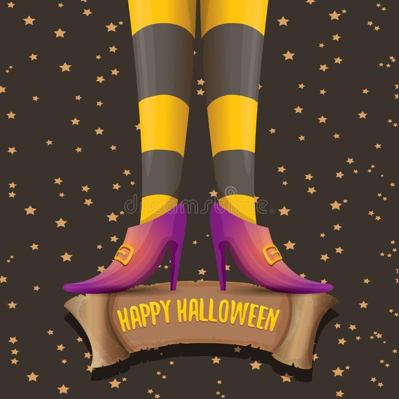 Cartel del partido de Halloween del vector con las piernas de la bruja libre illustration
