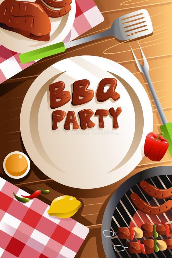 Cartel del partido de la barbacoa stock de ilustración