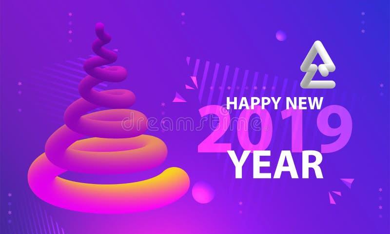 Cartel del partido de la Feliz Año Nuevo Fondo abstracto de las pendientes de la onda fotos de archivo libres de regalías