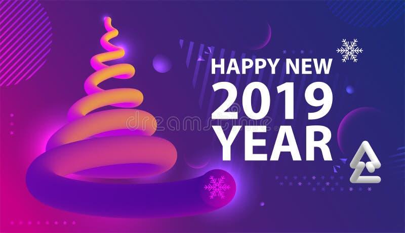 Cartel del partido de la Feliz Año Nuevo Fondo abstracto de las pendientes de la onda fotografía de archivo libre de regalías