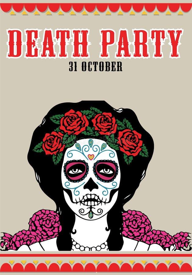 Cartel del partido de la muerte Ejemplo de Catrina stock de ilustración