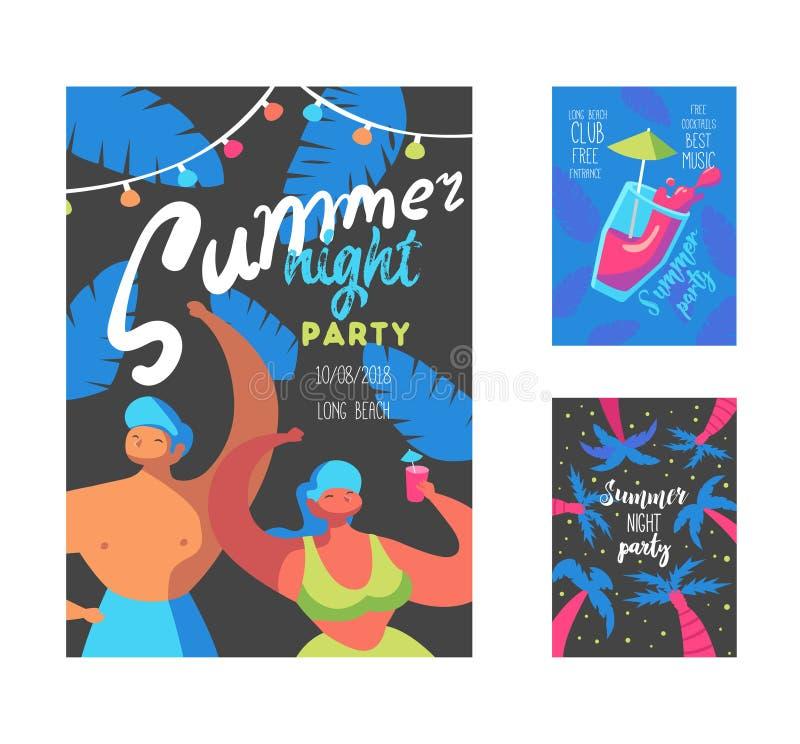 Cartel del partido de la noche de verano con los caracteres y las palmas planos de la gente Bandera de las vacaciones de la plant ilustración del vector