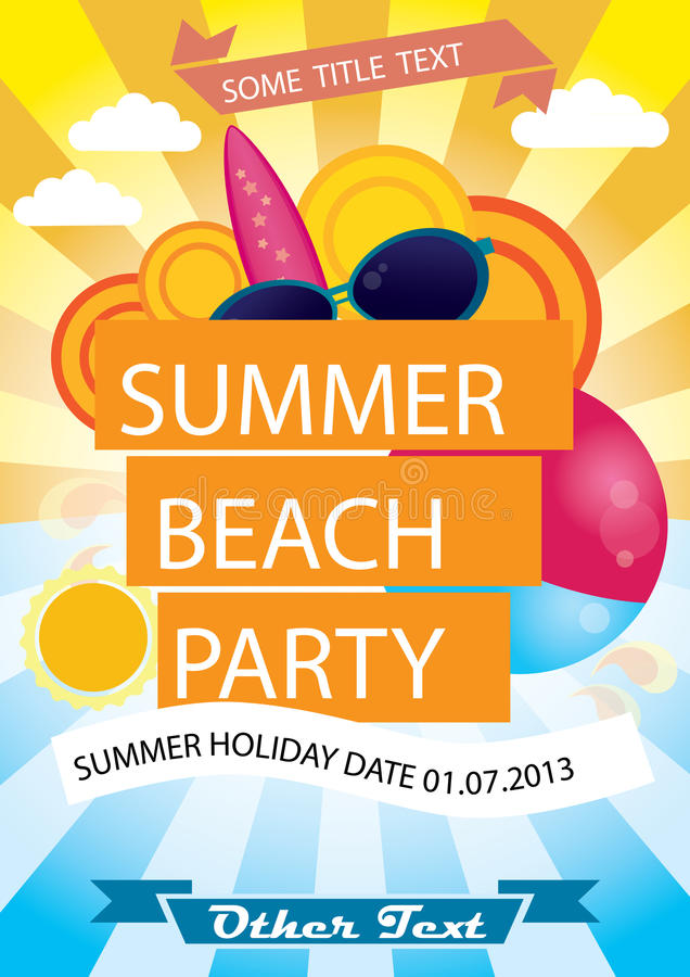 Cartel del partido de la playa del verano stock de ilustración