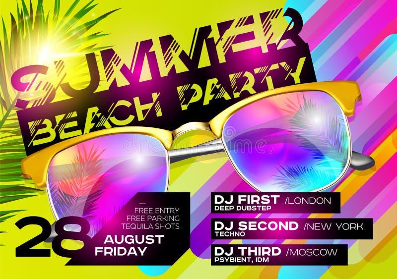 Cartel del partido de la playa del verano para el festival de música stock de ilustración