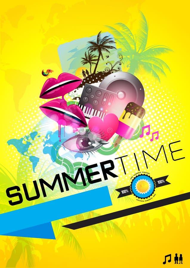 Cartel del partido del verano stock de ilustración