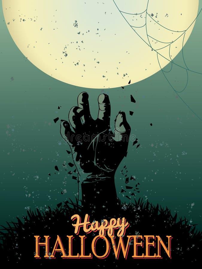 Cartel del partido del zombi de Halloween stock de ilustración