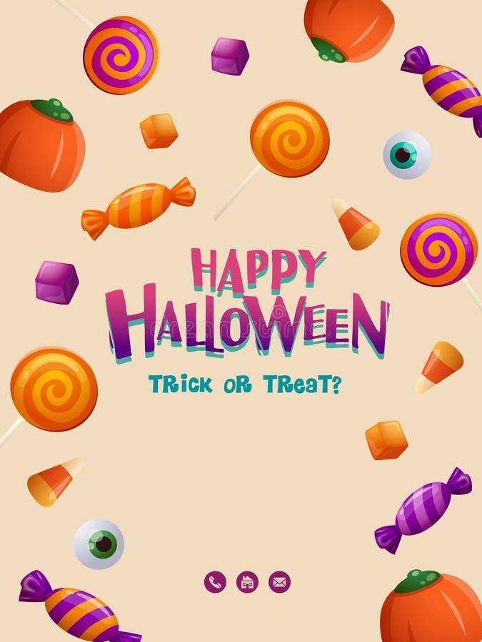 Cartel del partido del feliz Halloween Cartel de Halloween con el modelo del caramelo stock de ilustración