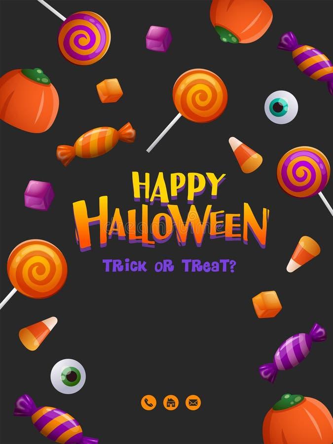 Cartel del partido del feliz Halloween Cartel de Halloween con el modelo del caramelo libre illustration