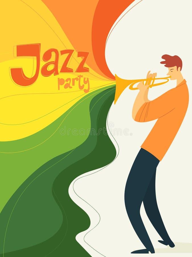 Cartel del partido del jazz del vector con el músico que toca la trompeta ilustración del vector