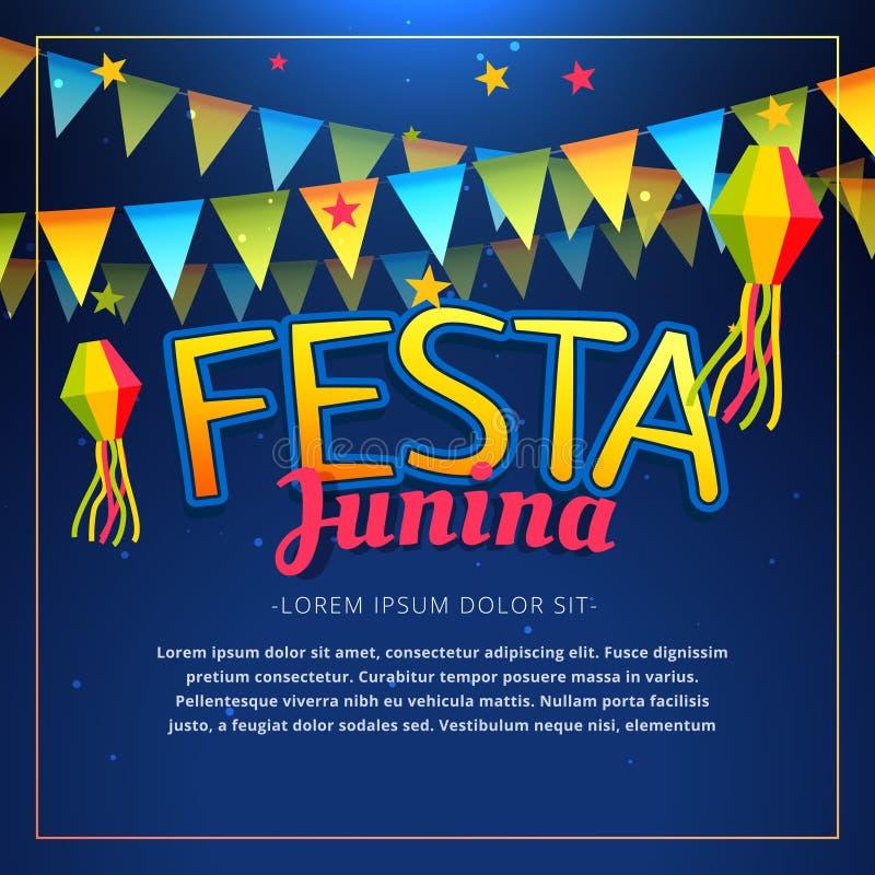 Cartel del partido del junina de Festa stock de ilustración