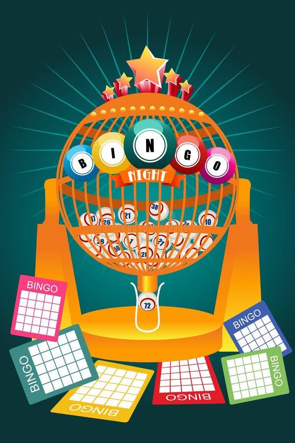Cartel del partido nocturno del bingo stock de ilustración