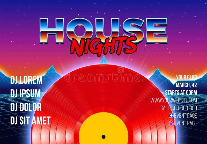 cartel del partido 80s con el fondo diseñado arcada y vinilo rojo lp para el delirio retro de la casa ilustración del vector