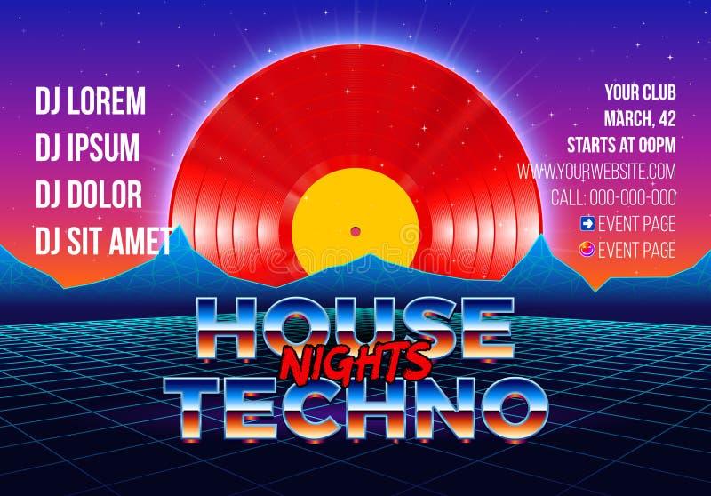 cartel del partido 80s con el fondo diseñado arcada y vinilo rojo lp para el delirio retro de la casa y del techno ilustración del vector