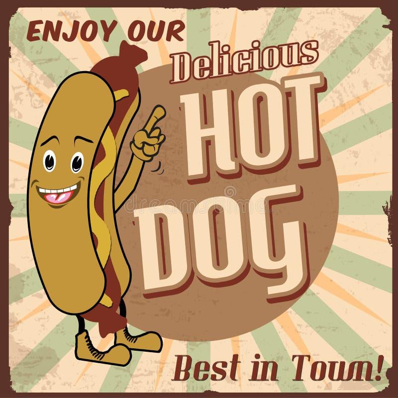 Cartel del perrito caliente stock de ilustración