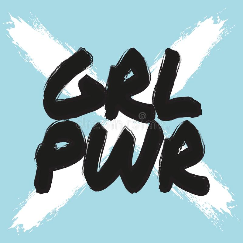 Cartel del poder de la muchacha Impresión feminista del vector Cita femenina blanca azul fresca del lema Impresión de la camiseta libre illustration